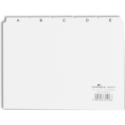 DURABLE Karteiregister A - Z, PP, A5 quer, weiß, 25-teilig