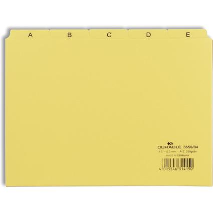 DURABLE Karteiregister A - Z, PP, A5 quer, gelb, 25-teilig