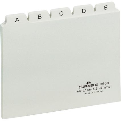 DURABLE Karteiregister A - Z, PP, A6 quer, weiß, 25-teilig