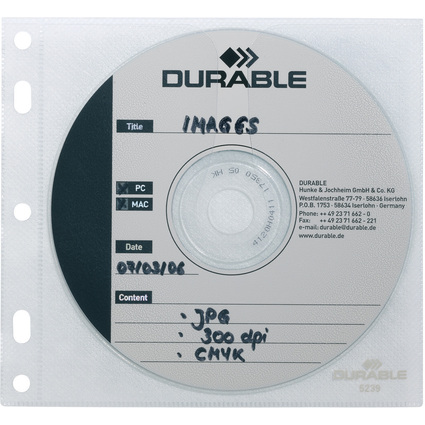 DURABLE CD-/DVD-Hülle COVER FILE, PP, transparent