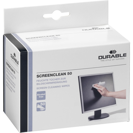 DURABLE Bildschirm-Reinigungstücher SCREENCLEAN 50