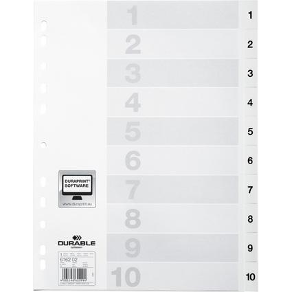 DURABLE Kunststoff-Register, Zahlen, A4, 10-teilig, 1 - 10
