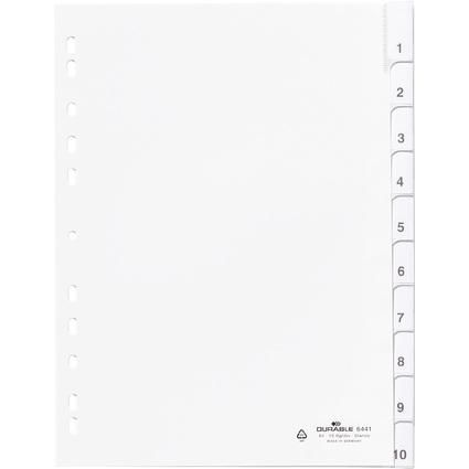 DURABLE Kunststoff-Register, A4, PP, 10-teilig, weiß