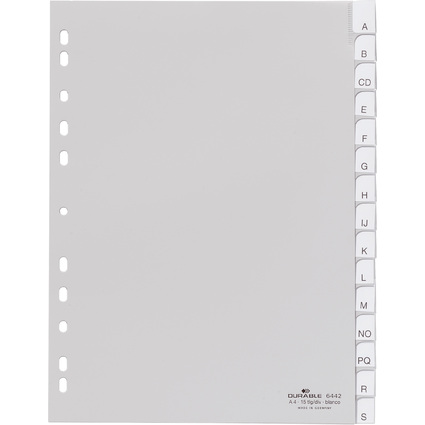 DURABLE Kunststoff-Register, blanko, A4, 15-teilig, grau