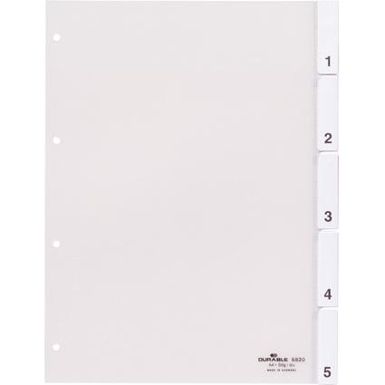 DURABLE Kunststoff-Register, A4, 5-teilig, transparent