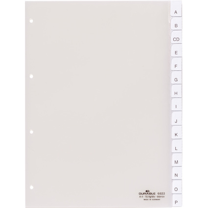 DURABLE Kunststoff-Register, A4, 15-teilig, transparent