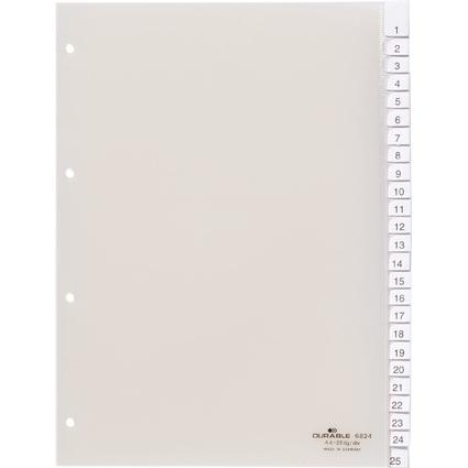 DURABLE Kunststoff-Register, A4, 25-teilig, transparent