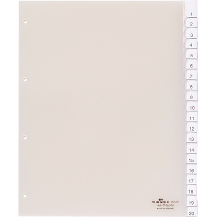 DURABLE Kunststoff-Register, A4, 20-teilig, transparent