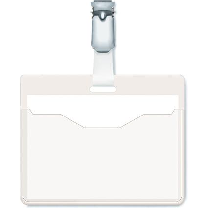 DURABLE Namensschild, oben offen, mit Clip, transparent