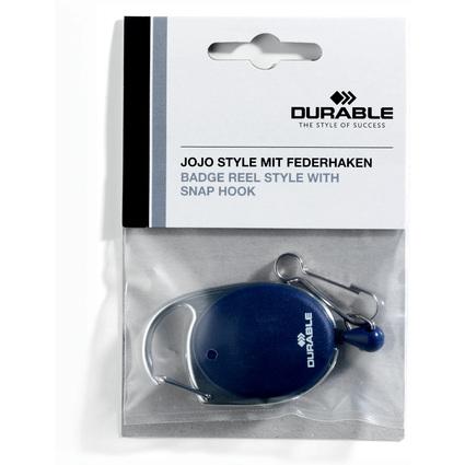 DURABLE Ausweishalter mit Jojo, oval, dunkelblau