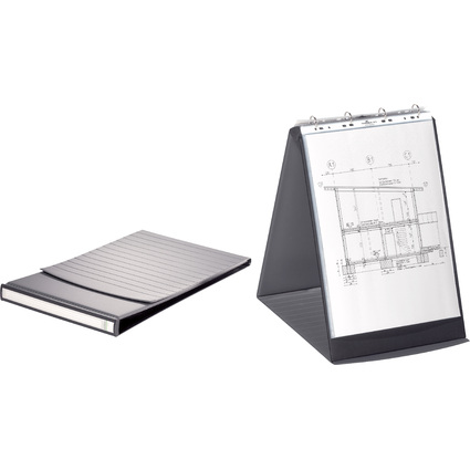 DURABLE Tisch-Flipchart, A3 hoch, schwarz, inkl. 10 Hüllen