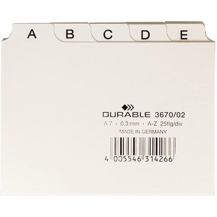 DURABLE Karteiregister A - Z, PP, A7 quer, weiß, 25-teilig
