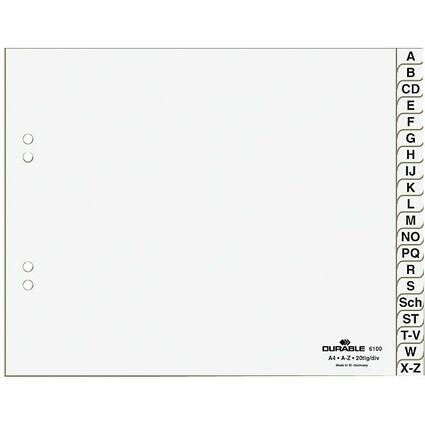 DURABLE Kunststoff-Register, A-Z, A4 halbe Höhe, 20-teilig