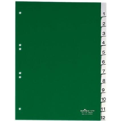 DURABLE Kunststoff-Register, PP, Stärke: 0,12 mm, 12-teilig