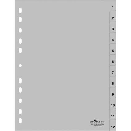 DURABLE Kunststoff-Register, Zahlen, A4, 12-teilig, 1 - 12