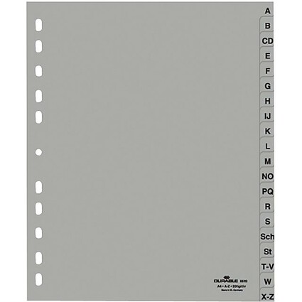 DURABLE Kunststoff-Register, A-Z, A4, überbreit, 20-teilig