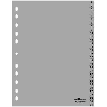 DURABLE Kunststoff-Register, Zahlen, A4, 31-teilig, 1 - 31