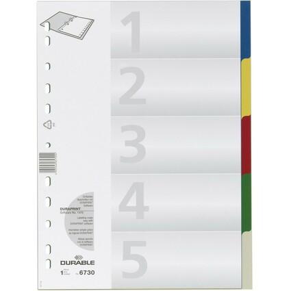 DURABLE Kunststoff-Register, A4, PP, 5-teilig