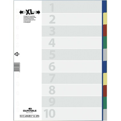DURABLE Kunststoff-Register, A4, PP, 10-teilig, überbreit