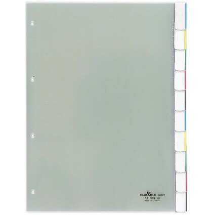 DURABLE Kunststoff-Register, A4, 10-teilig, transparent