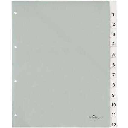 DURABLE Kunststoff-Register, A4, 12-teilig, transparent