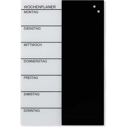 FRANKEN Glas-Magnetplaner, (B)400 x (H)600 mm, schwarz/weiß