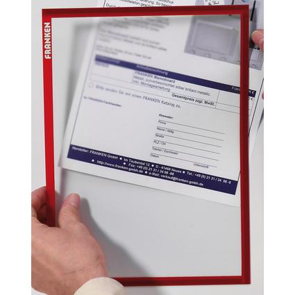 FRANKEN Magnet-Tasche FRAME IT X-tra!Line, DIN A4, rot