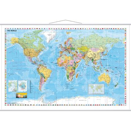 FRANKEN Weltkarte, laminiert, (B)1.370 x (H)970 mm