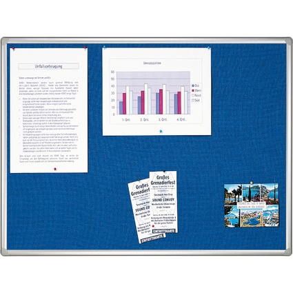 FRANKEN Textiltafel PRO, 1.800 x 1.200 mm, Filz: blau