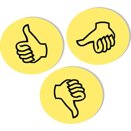 """FRANKEN Moderationskarte Wertungssymbol """"Daumen"""", gelb"""