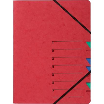 "PAGNA Ordnungsmappe ""EASY"", DIN A4, Karton, 7 Fächer, rot"