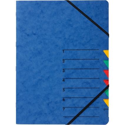 "PAGNA Ordnungsmappe ""EASY"", DIN A4, Karton, 7 Fächer, blau"