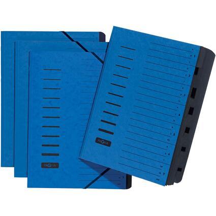 PAGNA Ordnungsmappe, DIN A4, aus Karton, 7 Fächer, blau