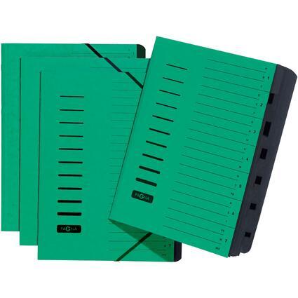 PAGNA Ordnungsmappe, DIN A4, aus Karton, 7 Fächer, grün