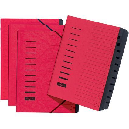 PAGNA Ordnungsmappe, DIN A4, aus Karton, 12 Fächer, rot