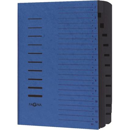 PAGNA Ordnungsmappe, DIN A4, aus Karton, 12 Fächer, blau