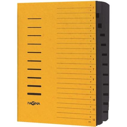 PAGNA Ordnungsmappe, DIN A4, aus Karton, 12 Fächer, gelb