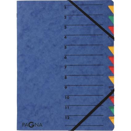 "PAGNA Ordnungsmappe ""EASY"", DIN A4, Karton, 12 Fächer, blau"