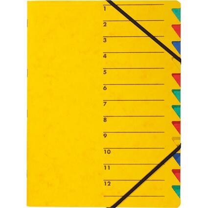 """PAGNA Ordnungsmappe """"EASY"""", DIN A4, Karton, 12 Fächer, gelb"""