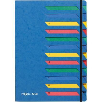 PAGNA Ordnungsmappe DESKORGANIZER 1-12, 12 Fächer, blau