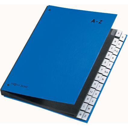 PAGNA Pultordner Color, DIN A4, A - Z, 24 Fächer, blau