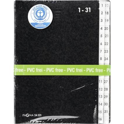 PAGNA Pultordner, DIN A4, 31 Fächer, 1 - 31, schwarz