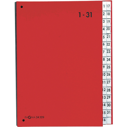 PAGNA Pultordner Color, DIN A4, 1 - 31, 31 Fächer, rot