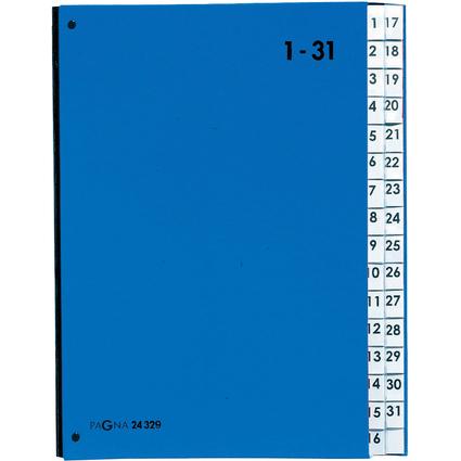 PAGNA Pultordner Color, DIN A4, 1 - 31, 31 Fächer, blau