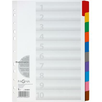 PAGNA Karton-Register, DIN A4, 10-teilig, 10-farbig