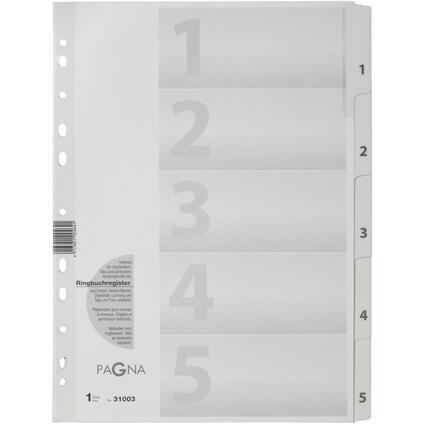 PAGNA Karton-Register Zahlen 1 - 5, DIN A4, 5-teilig