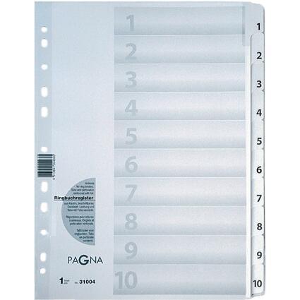 PAGNA Karton-Register Zahlen 1 - 10, DIN A4, 10-teilig