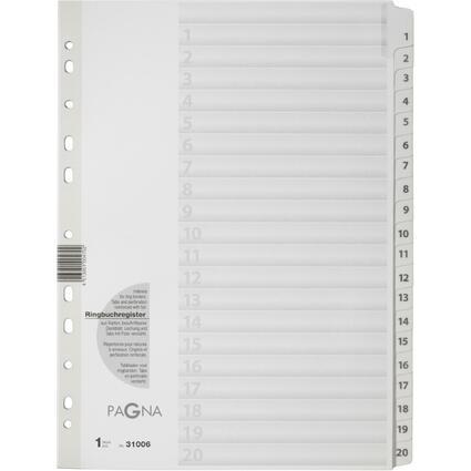 PAGNA Karton-Register Zahlen 1 - 20, DIN A4, 20-teilig