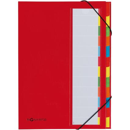 PAGNA Ordnungsmappe DESKORGANIZER Color, 12 Fächer, rot