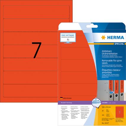 HERMA Ordnerrücken-Etiketten SPECIAL, 192 x 38 mm, rot
